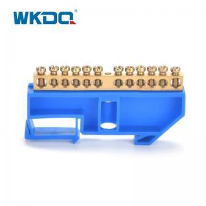 Din Rail Mounted Terminal Bus Bar Neutral Busbar Terminal Block Blue 500V/17.5A Manufactures