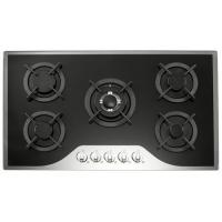 Mirror Tempered Glass Top 5 Burner Gas Cooker 90cm Gas Hob With Metal Knob Manufactures