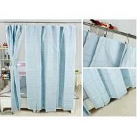 Ruffled Blackout Modern Window Curtains Light Blue Color 100% Cotton Country Style Manufactures
