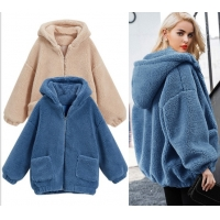 Buy cheap Womens Autumn Winter DTM Hooded Open Front Lamb Wool Coat from wholesalers
