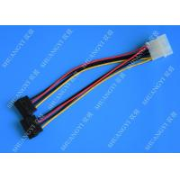 Quality 4P Molex To Dual SATA Flat Wire Harness And Cable Assembly Black Red Yellow With for sale