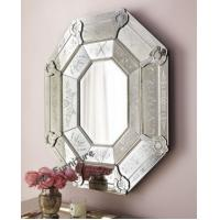 Quality Octagonal Shape Venetian Etched Glass Mirror , Bedroom Venetian Antique Mirror for sale