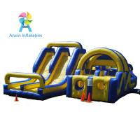 Yellow and blue basic training commercial bounce inflatable obstacle course slide