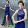 Sexy crystal halter lace long evening dress 2014 sapphire slim women formal dresses vestidos de fiesta Manufactures
