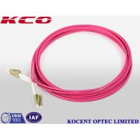 LC OM4 Duplex Fiber Patch Cable 3.0mm Diameter / LC OM4 Patch Cord Pink Color Manufactures