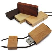 Lanyard Bamboo USB Flash Drive 256GB With Logo Printed , USB 3.0 Manufactures
