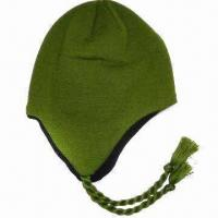 Women's Ski/Winter Hat with Ear Flaps and Fleece Lining Inside, Made of Wool and Acrylic Manufactures