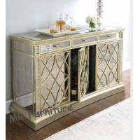 Champagne Gold Mirrored Sideboard Table , 85cm Height Mirrored Dining Room Buffet Manufactures