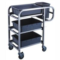 Stainless Steel Hand Trolley 3-Layer Table Clearing Cart With Basins And Buckets Manufactures