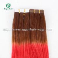 "Tape Hair extension 16""-28""L,100s/pack T8#/red# color Straight malaysian virgin hair Manufactures"