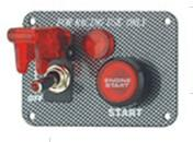 Carbon Fiber Racing Ignition Switch Panel , Red Illuminated Engine Start Button Manufactures