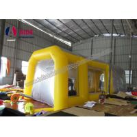 Pvc Tarpaulin Inflatable Paint Booth , Yellow Color Portable Spray Booth For Cars Manufactures