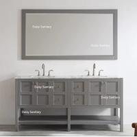 China Chrome Handles Transitional Bathroom Vanity Cabinets Clean White Surface No Radiation on sale