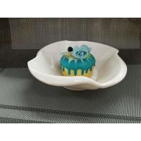 Plastic Porcelain Dinnerware Dessert Bowl Flower Decorative Border Top Dia.18CM Manufactures