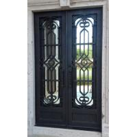 China Double door wrought iron entry doors famous design with tempered glass directly from factory on sale
