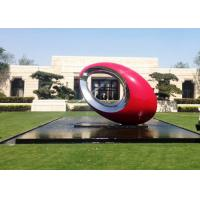 Red Painted Metal Sculpture Oval Large Outdoor Sphere Modern Garden Art Sculptures Manufactures