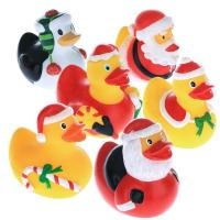 5.5cm Height Rubber Duck Christmas Decorations , Squeeze Floating Plastic Ducks  Manufactures