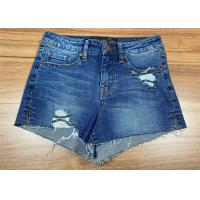 Raw Hem Ladies Fashion Jeans High Waisted Denim Shorts Light Wash Cotton With Rips Manufactures