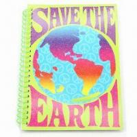 Art Paper Spiral Notebook with Gold Power, Measures 7 x 5 x 0.3-inch, ODM Orders are Welcome Manufactures