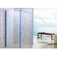 35'' X 75'' Walk In Shower Enclosures Blue Framed With 90 Degree Support Bar Manufactures