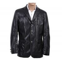 OEM 100% Viscose and Knitting, Size 46 and Black / Dark Red Mens PU Leather Blazers Manufactures