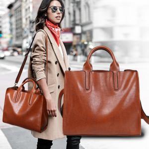 Oil Pu Leather Shoulder Bag Vintage , Womens Leather Laptop Bag With Long Belt Black Manufactures
