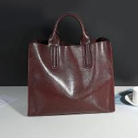Cowhide Casual Tote Black Leather Handbags With Mobile Phone / Document Pocket Manufactures