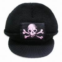 Men's Knitted Cap with Visor and Patch on Front, Made of Acrylic, Customized Designs are Accepted Manufactures