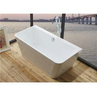 Quality Glossy Solid Surface Acrylic Free Standing Bathtub Indoor Square Shaped for sale