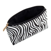 3 Pack Zebra Striped PU Leather Toiletry Travel Bag Manufactures