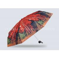 Red Mini Parasol Pocket Size Umbrella , Five Fold Umbrella Strong Aluminum Frame Manufactures