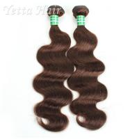 China Dark Brown Real Body Wave Human Hair Weave , Natural Remy Curly Hair Extensions on sale