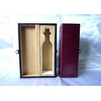 Red Personalised Wooden Wine Box Handcrafted With Leather Cover , 350×112×115mm
