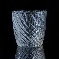 Hot Popular 8OZ Wax Twisted Lines glass cylinder candle holders For Decor Manufactures