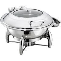 Round Chafing Dish Hydraulic Lid with Glass Window Optional φ35cm 6.0Ltr Food Pan Stainless Steel Cookwares Manufactures