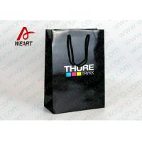 CMYK Logo Black Custom Paper Shopping Bags With Handle Glossy Lamination Manufactures