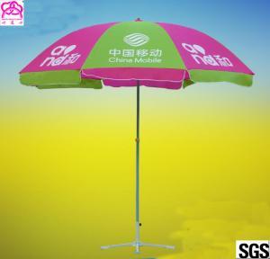 Steel Pole 210D Waterproof Faric Sun Beach Umbrella With Custom Logo Prints Manufactures