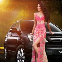 Sexy V-neck Beaded Lace Long Prom Dress 2014 Pink See Through Women Model Dress Manufactures
