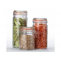 OEM Clear airtight glass canisters , glass food storage jars with lids for kitchen Manufactures
