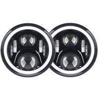 7 inch led fog light 70W With Angel eyes high/low Beam Pattern with RGB  Bluetooth controller for Jeep Manufactures