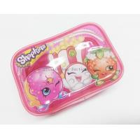 Cute & Lovely Girl Pink Vinyl Zipper Pouches , Non-toxic Clear Plastic Makeup Bag Manufactures