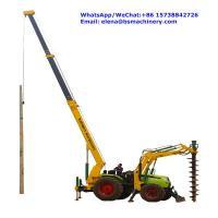 Integrated Tractor Crane Pole Erection Machine For Cement Poles Pit Digging Manufactures