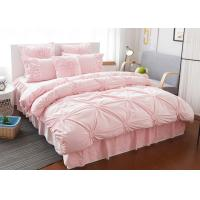 Pink / Blue / White Ruched Home Comforter Bedding Sets 4 Pcs 100% Cotton Manufactures