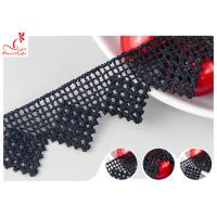 Black French Venice Guipure Lace Trim With Chemical Polyester Fiber Azo Free Dye