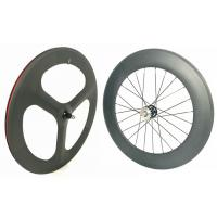 Quality Light Weight 3 Spoke Carbon Track Bike Wheels 700C 20MM Width Anti High for sale
