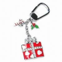 Fancy Keychain with Color Drop and Crystal, Made of Zinc Alloy Manufactures