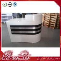 Quality white reception counter supermarket modern checkout counter reception desk for sale
