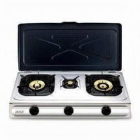 Triple Burner Gas Stove with Adjustable Gas Control and Stainless Steel Saucer Tray Manufactures