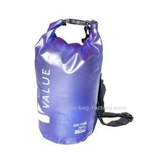 Water-Resistant 10L Blue PVC  Dry Tube Bag , Travel Dry Backpacks with Adjustable Shoulder Strap