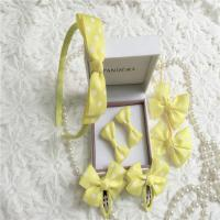 Yellow Nylon Tape Fabric Hair Clips Ponytail Holder Flower Girl Hair Accessories Clips Manufactures